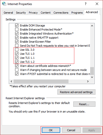Enable SSLv3 or TLS 1.0