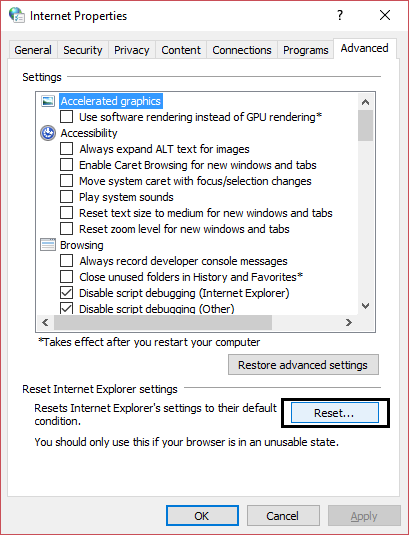 Reset Internet Settings