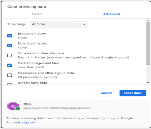 Clear browsing history, cookies, and cache data