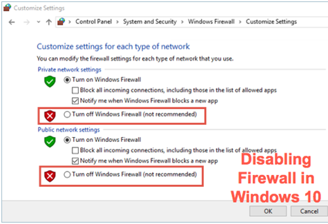 Check Firewall settings