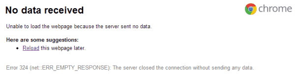 Google chrome fix No data received error