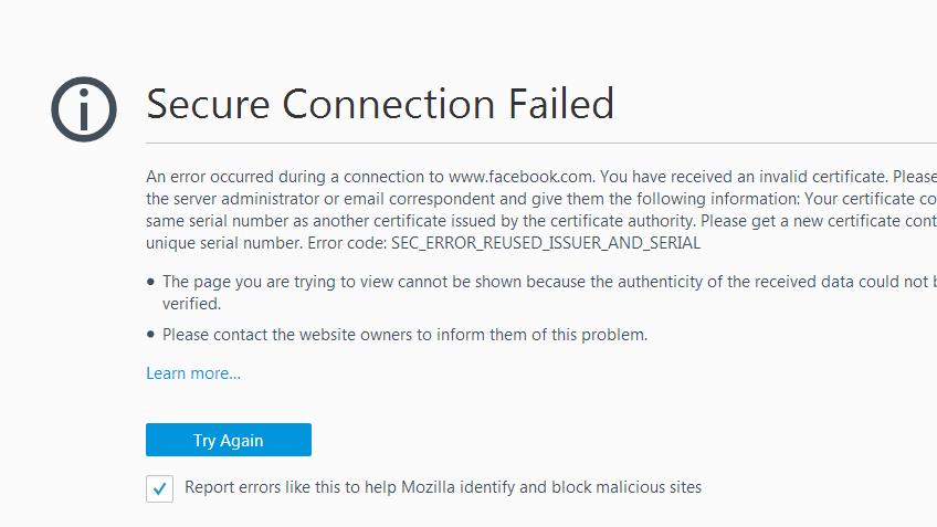 Fix SEC_ERROR_REUSED_ISSUER_AND_SERIAL Error Mozilla Firefox?