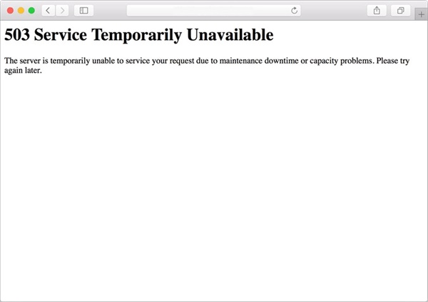 How to fix the 503 Service Unavailable?