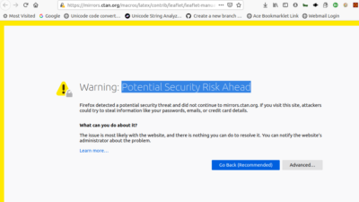 Potential Security Risk Ahead' Error in Firefox