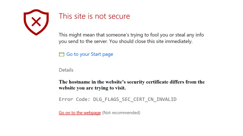 Security Errors Codes on Secure website